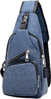 flintronic Sling Bag, Bolsa de Pecho con Puerto de Carga USB, Puerto Crossbody para Hombres Mujeres Senderismo Ligero Cicl...