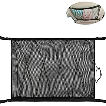 Nine Summer Car Ceiling Storage Net Pocket Adjustable Auto Double-Layer Mesh Roof Organizer Bag for SUV Truck Sundries Storage Pouch with Zipper