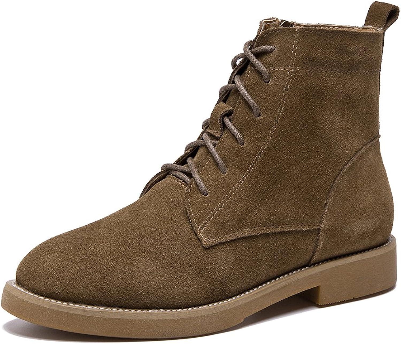 Rismart Women Latest European Trendy Autumn Roman Boots Nubuck Leather Lace-Up Martin Boots