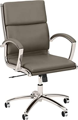 Bush Furniture Refinery Mid Back Executive Office Chair, Washed Gray Leather