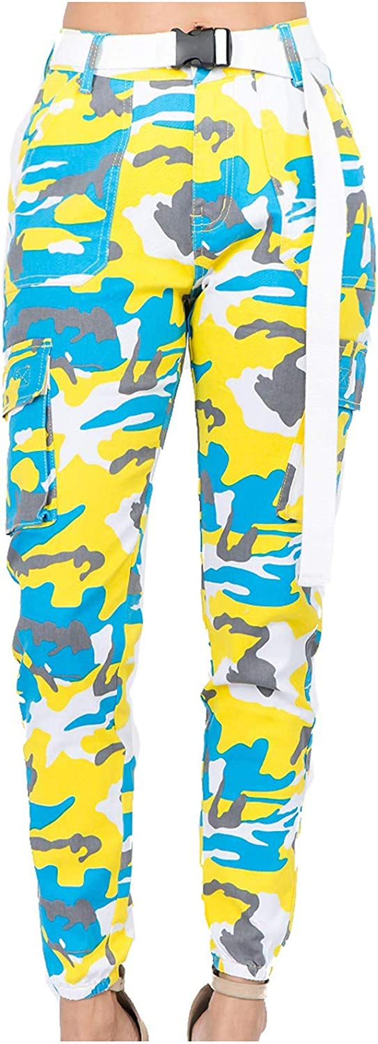 Womens Camo Pants Cargo Trousers Cool Camouflage Pants Elastic Waist Casual Multi Outdoor Jogger Pants with Pocket