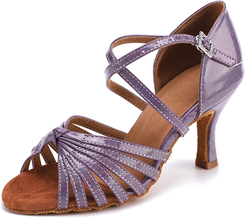 Honeystore Women's PU Leather Latin Dance Shoes Ballroom Prom Salsa