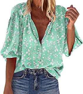 Remanlly Fashion Womens Printing Button 3/4 Bell Sleeve Long Sleeves Shirt Tops Casual Loose Blouses