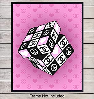Chanel Rubiks Cube Wall Art Print - Chic Modern Art Poster and Great Gift for Women, Girls, Teens, Fashionista, Fashion Design Fans - Contemporary Decor for Bedroom, Bathroom - 8x10 Unframed Photo