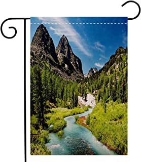 BEIVIVI Custom Double Sided Seasonal Garden Flag Altai Pine Forest Rainforest River Rocky Mountains Snenery Siberia Whitewater Decorative Garden Flag Waterproof for Party Holiday Home Garden Decor
