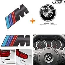 2-Pieces,Black and White Steering Wheel Emblem Decal fit BMW,Black M Emblem Badge Sticker