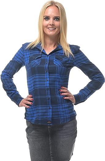 ROCK-IT Apparel® Camisa de Franela Mujer Camisa de leñador a Cuadros en Tallas Europa S-XL Color Azul/Negro
