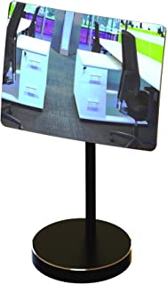 Desk and Cubicle Mirror to See Behind You, Black Stand with Detachable Wide Angle Real Glass Mirror, Small & Discrete, Beautiful Design, Perfect Curvature for an exceptionally Clear View