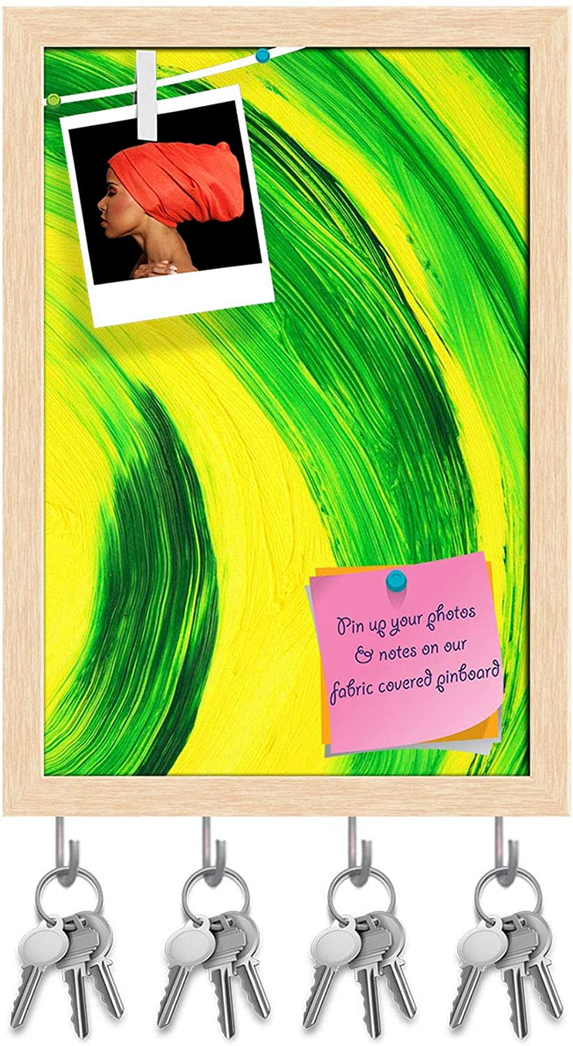 Artzfolio Green & Yellow Abstract Curves Key Holder Hooks   Notice Pin Board   Natural Brown Frame 6 X 8.5Inch