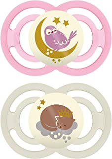 MAM Perfect Night Pacifiers, Glow in the Dark Pacifiers (2 Pack, 1 Sterilizing Pacifier Case), MAM Pacifiers 16 Plus Month...