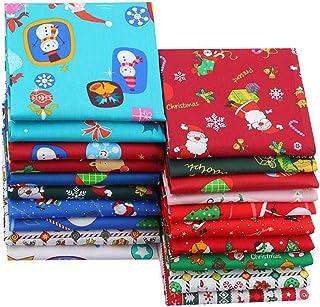 Tecido de algodão de Natal, 20 peças, tecido 100% puro de algodão com padrões diferentes clássicos, presentes de Natal fei...