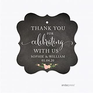 Andaz Press Chalkboard Floral Party Wedding Collection, Fancy Frame Gift Tags, Personalized Thank You for Celebrating with US, 24-Pack, Custom Name