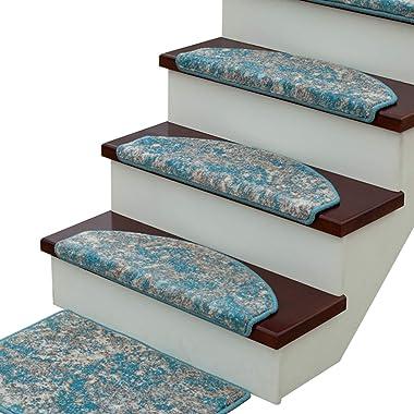 15Pcs Carpet Stair Tread Landing Mat Tape Free Self Adhesive Non Slip Skid Resistant Indoor Stairway Area Rug Floor Mat Washa