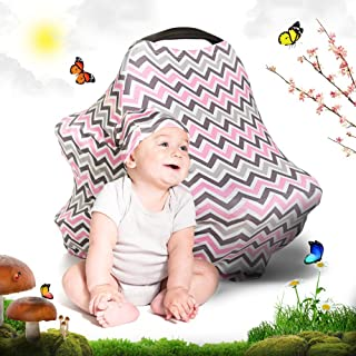 Cool Beans Baby Car Seat Canopy and Breastfeeding Nursing Cover - Multiuse - Covers High Chairs, Shopping Carts, Car Seats - Bonus Infant Baby Beanie and Bag (Pink Chevron)