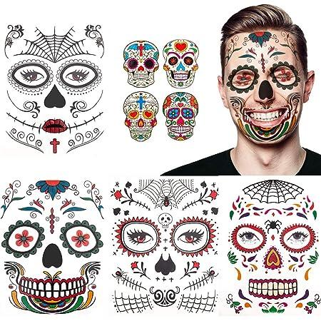 Coffre-fort Tatouages Halloween visage for les enfants les tatouages visage 10pcs animaux Kit denfants Gar/çons Filles Panda Cerfs Body F/ête des fleurs de peinture Stickers for les filles denfan