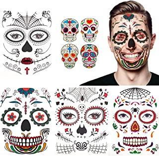 Halloween Temporary Face Tattoos(8Pack),Day of the Dead Sugar Skull for Makeup Kit,Halloween Masquerade Party Favor Supplies