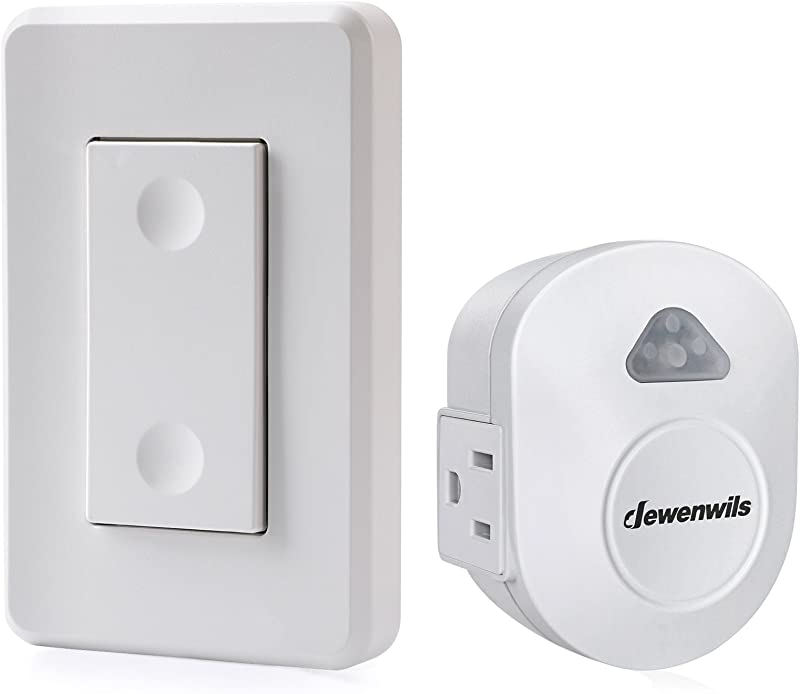DEWENWILS Wireless Wall Control Outlet Electrical Remote On Off Light Switch For Lamp No Interference 15 AMP Heavy Duty 100 RF Range Compact Side Plug White