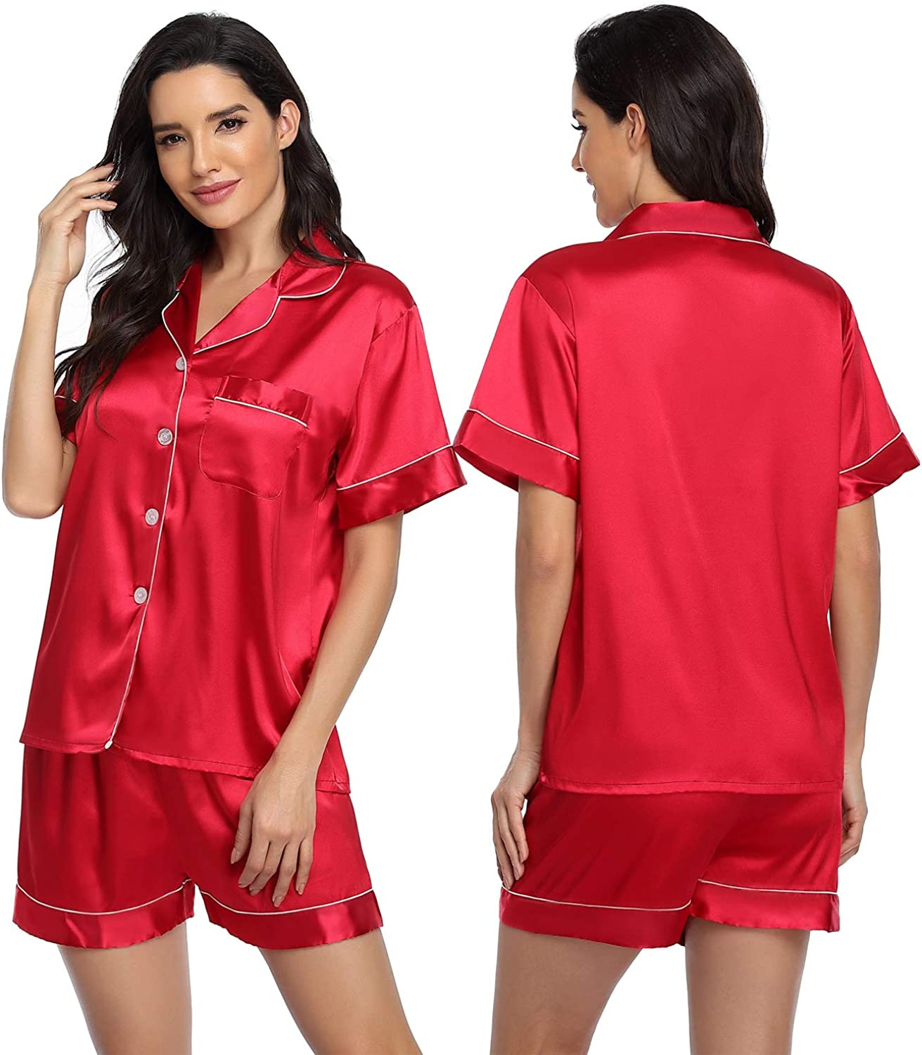ARGCONNER Womens Silk Satin Max 47% OFF Pajamas Sleeve Set Short P Industry No. 1 Two-Piece