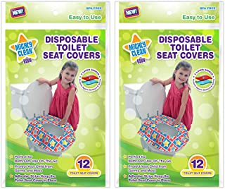 Mighty Clean Baby Large Disposable Toilet Seat Covers - Portable Potty Seat Covers for Toddlers, Kids, and Adults - 24 Count (2 Packs of 12 Covers)