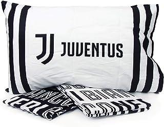 Lenzuola in Puro Cotone e Fodera Multicolore Prodotto Ufficiale Marchiato con Il Logo Juventus Biancotex Completo Letto Singolo