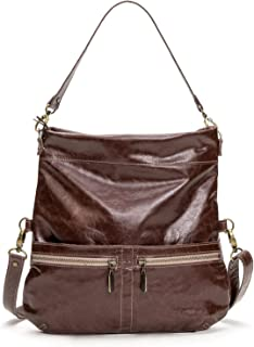 product image for Brown Distressed Italian Leather Medium Convertible Foldover Crossbody
