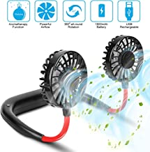 Portable Hanging Neck Sports Fan - Hands Free USB Rechargeable Personal Wearable Neckband Fan Battery Operated with 3 Level Air Flow Headphone Design Cooling Head Fan Mini Necklace Fan for office