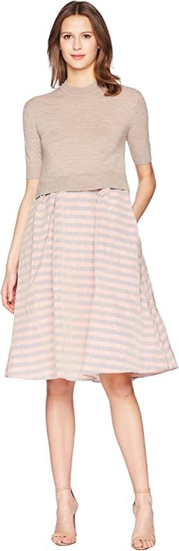 Short Sleeve Knit Dress with Striped Taffetas Skirt