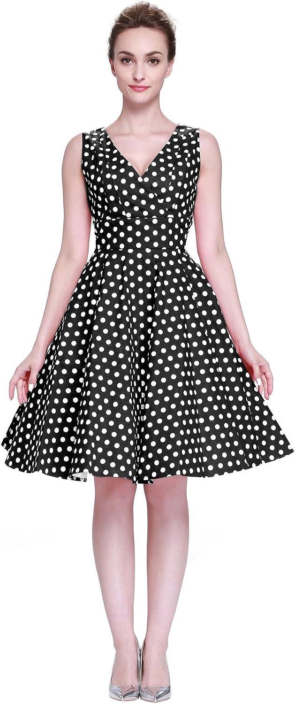 Heroecol Vintage 1950s 50s Dress Style Retro Rockabiily Cocktail V Neck Poka Dot