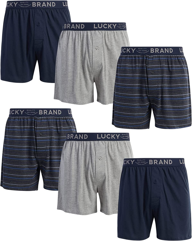 Lucky Brand Men's Underwear - 100% Cotton Knit Boxers (6 Pack)