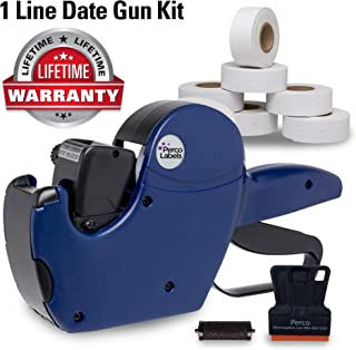 Perco 1 Line Date Label Gun Kit: Includes 8 Digits Date Gun Labeler, 10,000 Plain White Labels, and Preloaded Inker