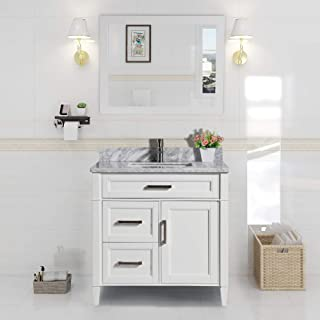 Vanity Art 36 Inch Single Sink Bathroom Vanity Set | Carrara Marble Stone Soft Closing Doors Undermount Rectangle Sink with Free Mirror - VA2036-W
