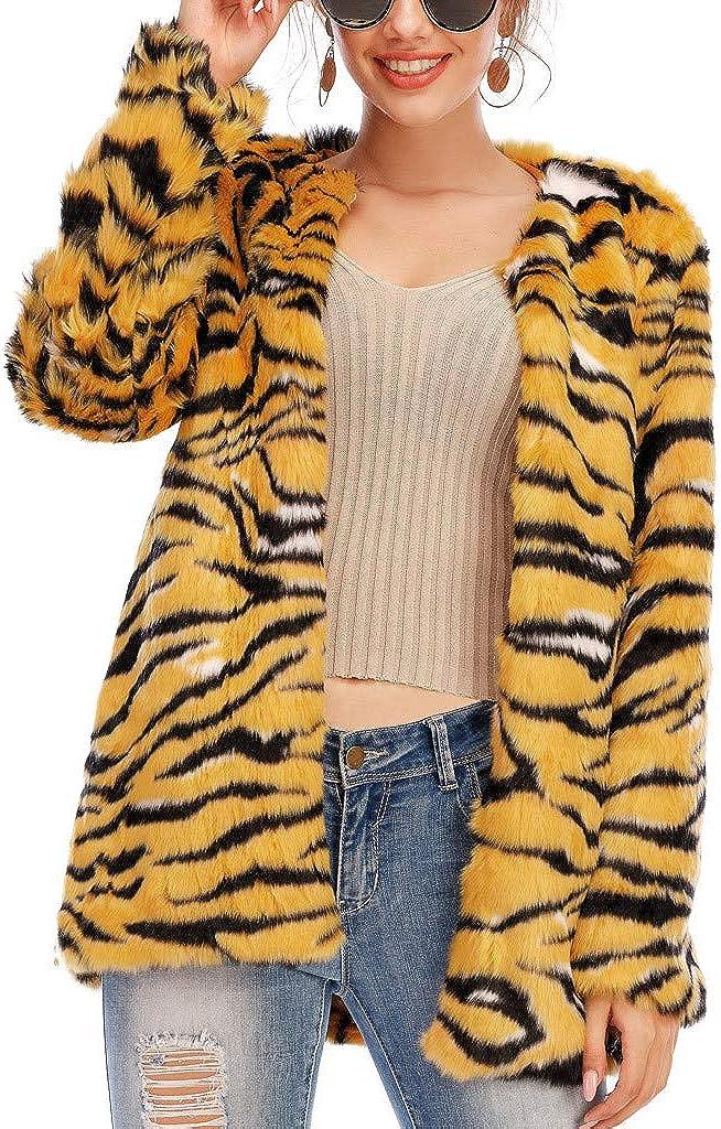 SERYU Womens Faux Fur' Long Sleeve Leopard Waistcoat Body Warmer Jacket Coat Outwear