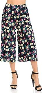 Auliné Collection Womens Pleated High Waist Wide Leg Cropped Capri Culotte Pants