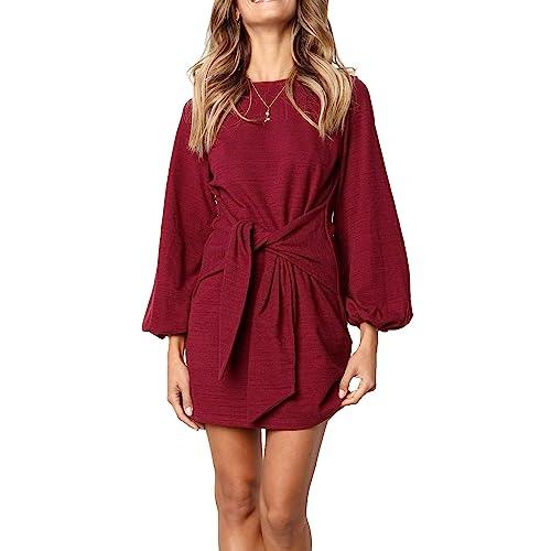 70c269965a R.Vivimos Women s Autumn Winter Cotton Long Sleeves Elegant Knitted Bodycon  Tie Waist Sweater Pencil