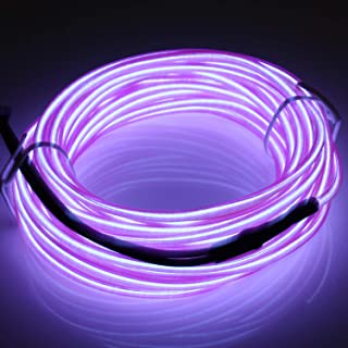 jiguoor EL Wire with Battery Pack 16.4ft/ 5M Super Bright Light Neon Tube Neon Glowing strobing of 360 Degrees of Illumina...