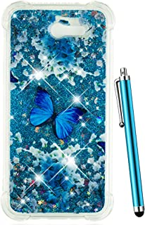 CAIYUNL Glitter Case for Galaxy J7 2017 /J7 V / J7 Prime / J7 Perx / J7 Sky Pro/Samsung Halo Bling Floating Liquid Cover Clear TPU Cute Luxury Design Women Men Girls Slim TPU Protective-Blue Butterfly