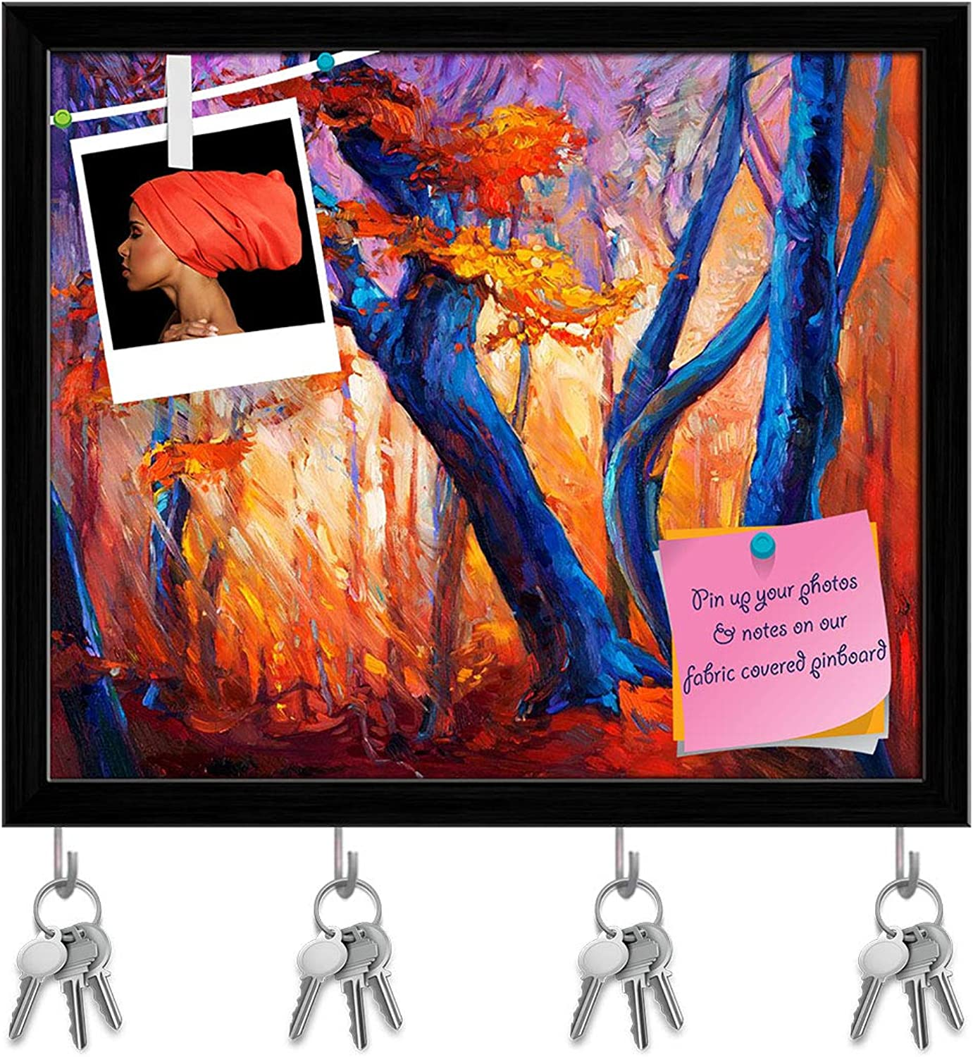Artzfolio Artwork of Beautiful Autumn Tree D3 Key Holder Hooks   Notice Pin Board   Black Frame 14.2 X 12Inch