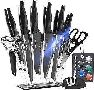 Wanbasion Couteaux de Cuisine Universel en Acier Inoxydable,INOX Set de Couteaux de Cuisine Professionnel, Bloc de Couteau...