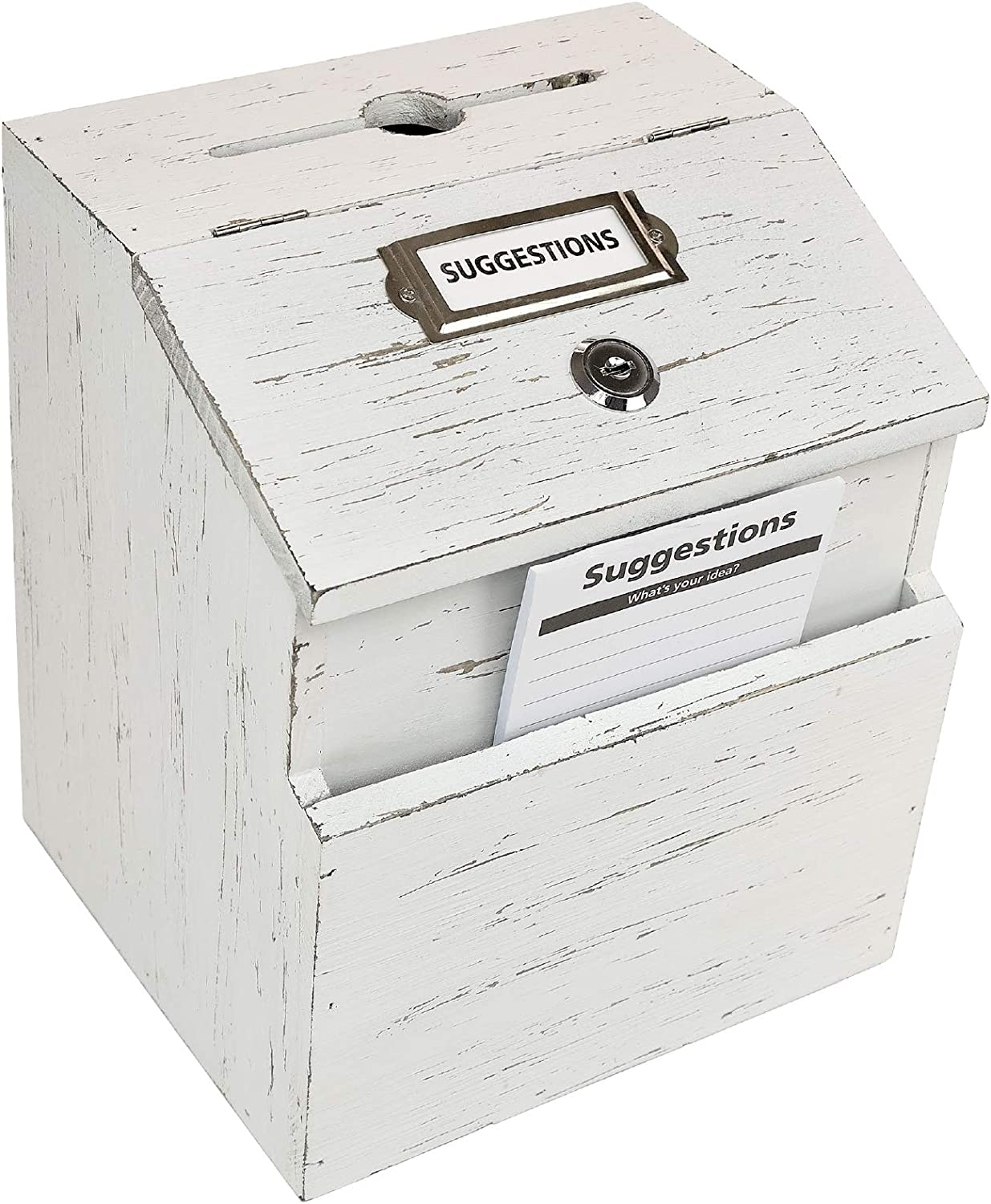 Rustic White Suggestion Box with Max 70% OFF 100% quality warranty Comment Lock: Ballot Wooden