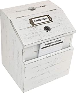Rustic White Suggestion Box with Lock: Wooden Ballot Comment Box, Wall Mounted or Freestanding. Includes Printed Labels & ...