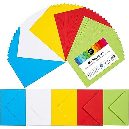 perfect ideaz 50cartes pliantes colorées A6 avec enveloppe 11x15,5cm, fabriquées de manière durable en Allemagne, double carte en 5couleurs, ensemble vierge pour la réalisation de cartes postales