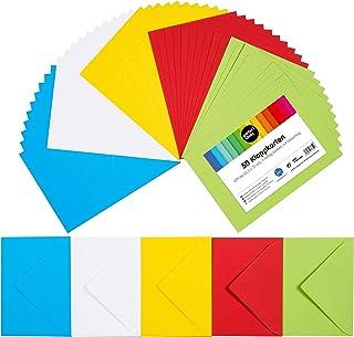 perfect ideaz 50cartes pliantes colorées A6 avec enveloppe 11x15,5cm, fabriquées de manière durable en Allemagne, doub...