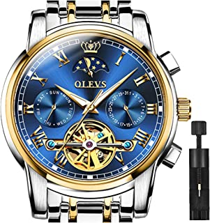 OLEVS Blue Automatic Watch Men Moon Phase Slef Wind Men's Watches with Day Date,Waterproof Mechanical Watch Two Tone Stainless Steel Luminous Green Swiss Watch Men,Luxury Tourbillon Wristwatch Week