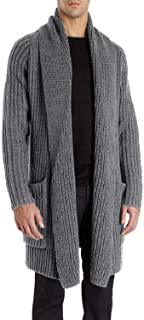 Mens Cardigan Long Shawl Collar Sweater Chunky Knit Slim Fit Autumn Winter Open Front Jacket Knitwear with Pockets