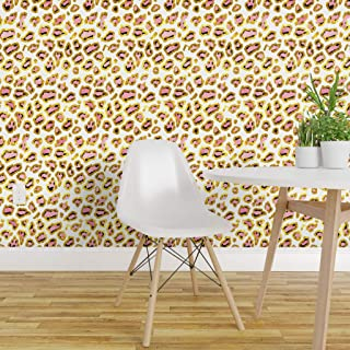 Spoonflower Peel and Stick Removable Wallpaper, Leopard Gold Pink Print, Self-Adhesive Wallpaper 24in x 36in Roll