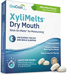 OraCoat XyliMelts Dry Mouth Relief Moisturizing Oral Adhering Discs Mild Mint with Xylitol, for Dry Mouth, Stimulates Sali...