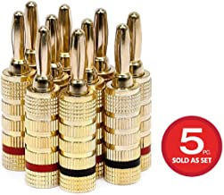 Monoprice 109436 Gold Plated Speaker Banana Plugs – 5 Pairs – Closed Screw Type, For..