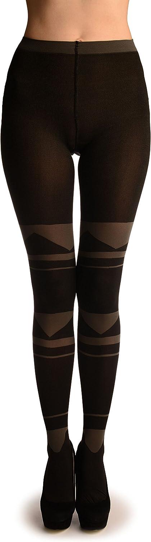 Black With Grey Geometrical Stripes - Pantyhose (Tights)
