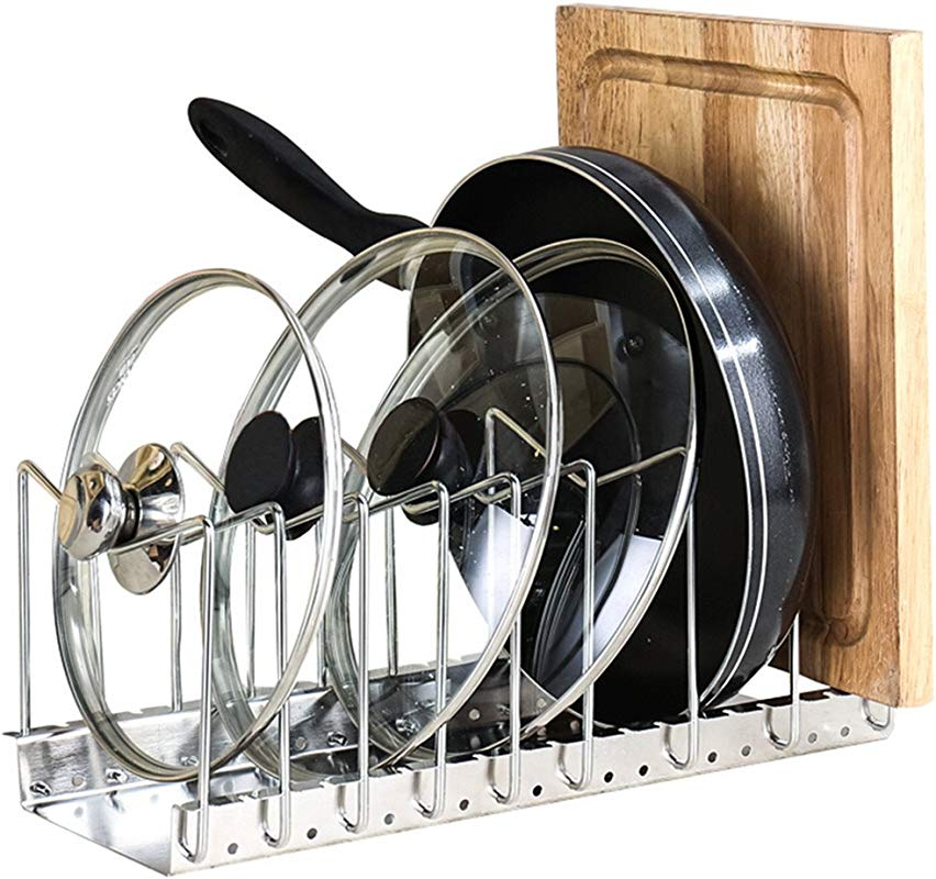 Fecihor Stainless Steel Pan And Pot Lid Cookware Rack Holder Adjustable Bakeware Cookware Kitchen Cabinet Pantry Drying Rack And Countertop Cookware Organizer Holders Silver