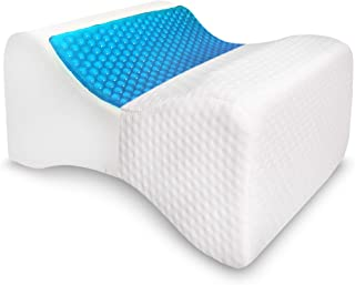 Knee Pillow for Side Sleepers - Cooling Gel Memory Foam Wedge - Ultimate Relief for Sciatica Nerve, Pregnancy, Surgery, Joint, Hip and Back Pain - Contour Leg Support Bolster Spacer for Sleeping